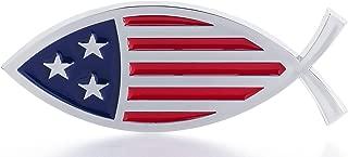 Christian Fish USA Flag Car Emblem - Made in USA