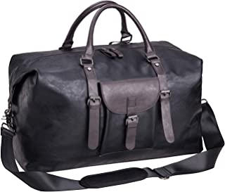 Oversized Leather Travel Duffel Bag Black,Weekender Overnight Bag Waterproof Leather Large Carry On Bag Travel Tote...