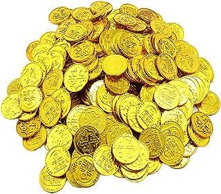 Toyvian Monedas de Oro de Piratas Juego de Juguetes de Monedas de plástico Apoyos Chips Playset