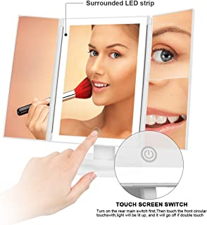 Lighted Personal Makeup Mirror with LEDs, Touch Screen Dimming, Tri-Fold 1 x 2x 3x Magnification Sections- White- Perfect for Beauty Lovers and Enthusiasts