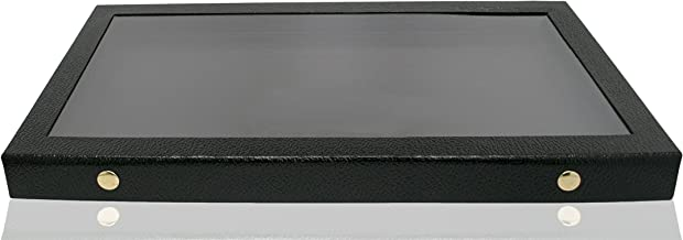 Novel Box Snap-Close Acrylic Lid Black Jewelry Display Case 14.75X8.25X1.15 + Custom NB Pouch