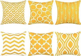 Topfinel 6er Set Kissenbezüge 40x40 cm Qualitäts Kissenhüllen in Segeltuch mit Geometrischen Mustern für Sofa Auto Terrasse Zierkissenbezüge Pfeil Dunkelgelb und Weiß