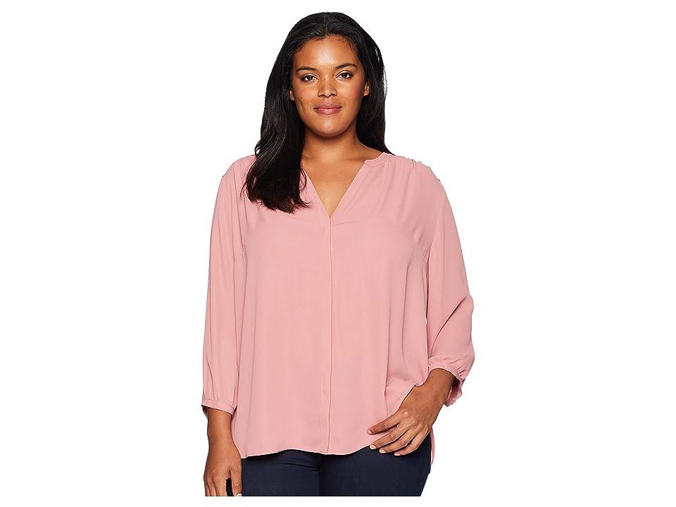 NYDJ Plus Size Plus Size Pintuck Blouse (Wood Rose) Women's Blouse, Gray