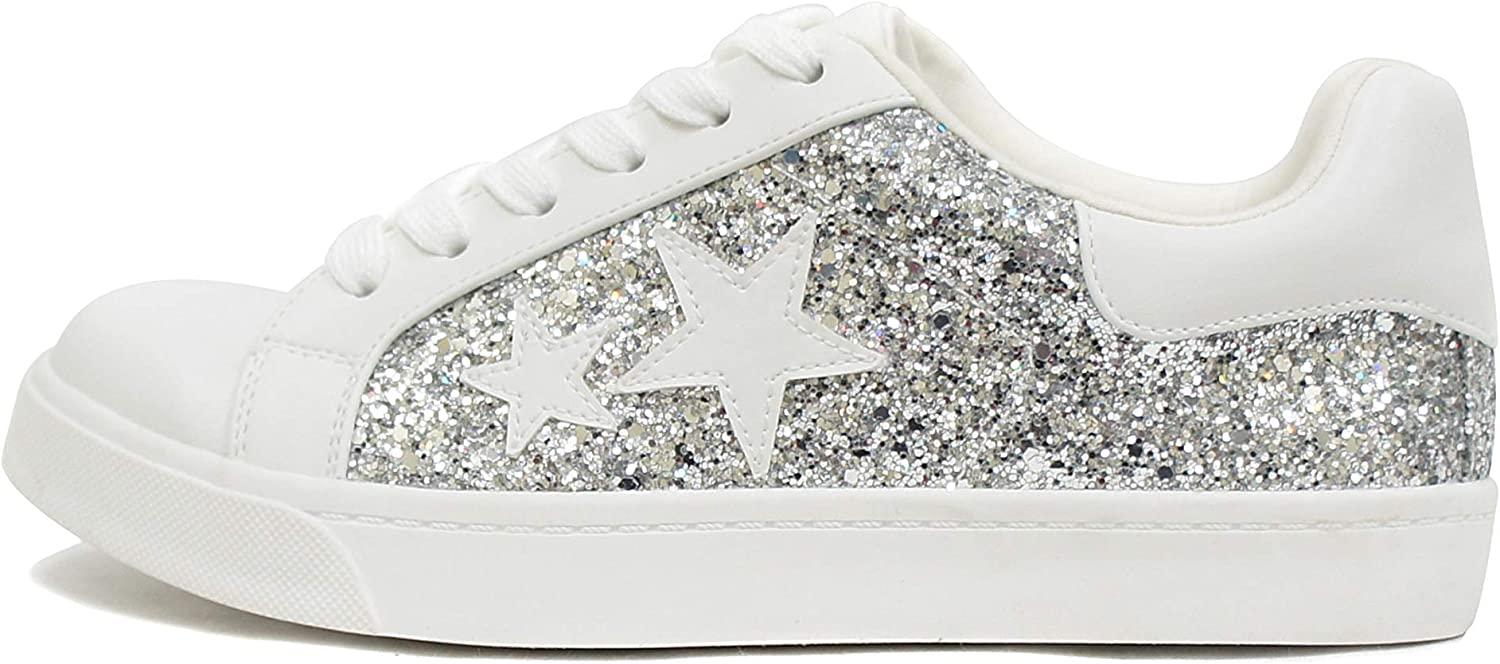 Soda Wander ~ Lace-up Double Layer Foam Padded Cushion Sock with Stars Low top Fashion Sneakers
