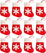 San Tokra 12Pcs Christmas Socks Decoration Snowflake Tableware Holders, Candy Pouch Bag Knife Spoon Fork Bag Mini Christmas Stockings for Xmas Decorations Dinner Table Ornaments