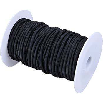 DIY Projects Moisture UV Recreation Indoor and Outdoor Marine Grade Bungee Black, 1//4 Inch X 10 Feet 100/% Stretch Tie Downs Weather Resistant Paracord Planet Shock Cord