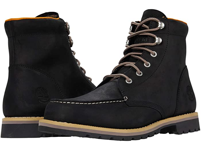 Mens Vintage Shoes, Boots | Retro Shoes & Boots Timberland Redwood Falls Waterproof Moc Toe Boot Black Full Grain Mens Boots $145.00 AT vintagedancer.com