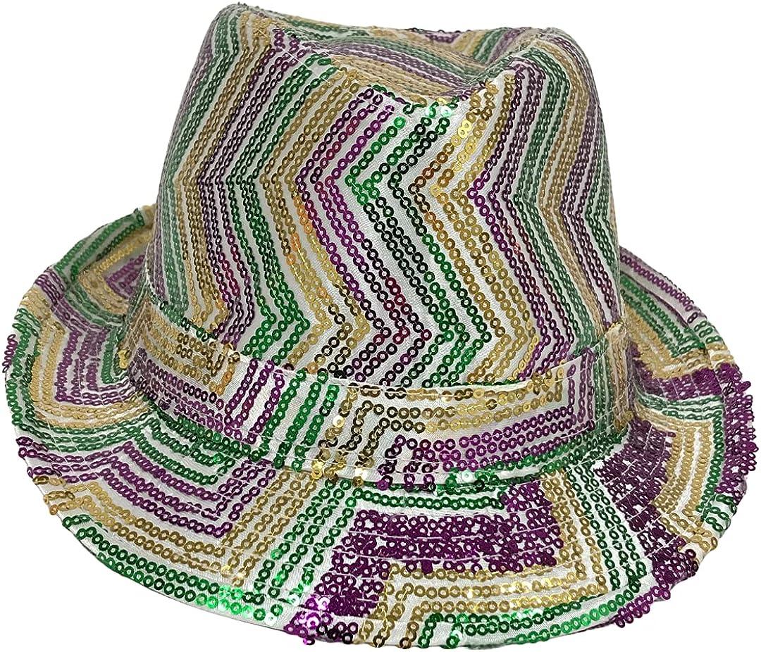 Mardi Gras Spot Purple, Green and Gold Sequins Zig Zag Stripes on White Fedora (Each)