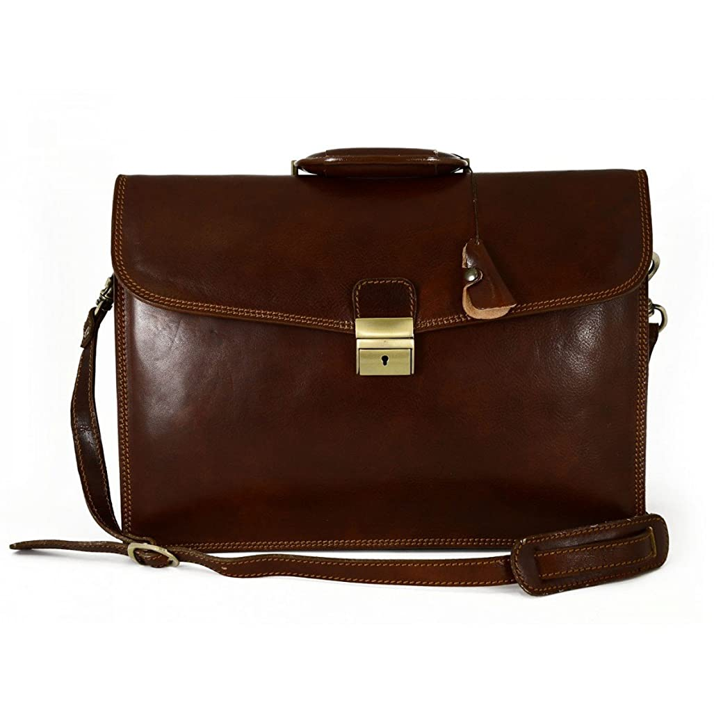 オフセット部族まともなMade In Italy Genuine Leather Professional Briefcase 3 Compartments Color Brown - Business Bag