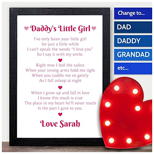 d91d067da DADDY'S Little Girl PERSONALISED POEM Fathers Day Gifts from Daughter  Presents - PERSONALISED with ANY NAME