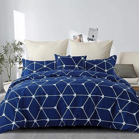 RUIKASI Housse de Couette 220 x 240 cm Bleu Housse de lit Simple à Carreaux avec Housse de Couette zippée en Microfibre et 2 taies d'oreiller 65 x 65 cm