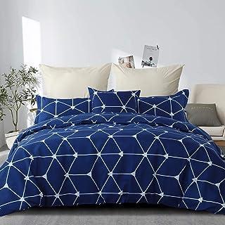RUIKASI Housse de Couette 220 x 240 cm Bleu Housse de lit Simple à Carreaux avec Housse de Couette zippée en Microfibre et...