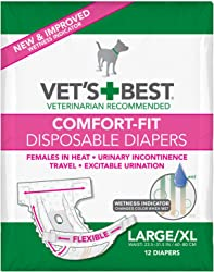 Vet s Best Comfort Fit Dog Diapers | Disposable Female Dog Diapers |