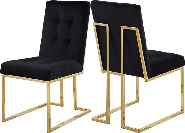 子午线家具 714 黑色 C 皮埃尔天鹅绒餐椅 2 套黑色