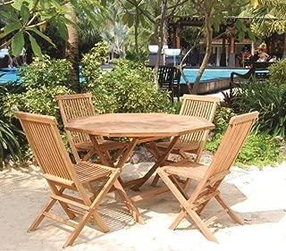 Bamboo Teak Patio Set Octagonal Table 5 Piece