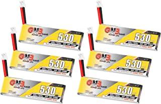 6PCS 530mAh 1S LiPo Batteries 3.8V LiHV Battery 90C/180C JST-PH2.0 Connector for Eachines Trashcan Emax Tinyhawk Freestyle II Snapper7 Mobula7 75mm Micro FPV Racing Drone