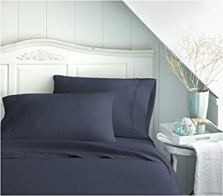 BECKY CAMERON BC-4PC-QUEEN-NAVY ienjoy Home 4 Piece Double Brushed Microfiber Bed Sheet Set, Queen, Navy