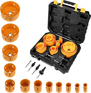 DEKO Hole Saw Set,26 PCS Hole Saw Kit with 22 PCS 4-3/4 Inch- 3/4 Inch Saw Blades in Case, with 2 Small Mandrel, 1 Large Mandrel, 1 Drill Bit, Ideal for Soft Wood, Plywood,PVC and Plastic Board