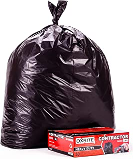 Heavy Duty Contractor Bags by OXRITE | Individually Folded, 42 Gallon (50 Pack), 3 MIL Thick Large Black Industrial Garbage Trashbags