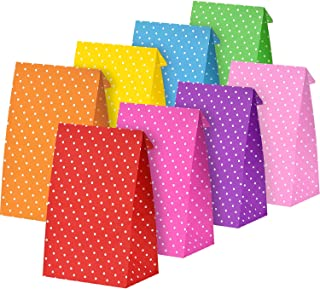 Tatuo 24 Pieces Halloween Candy Party Bags Gift Paper Bags Grocery Bags Craft Paper Bags Lunch Flat Bottom Paper Bags
