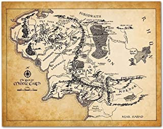 Map of Middle Earth - 11x14 Unframed Art Print - Makes a Great Gift Under $15 for Lord of the Ring and Hobbit Fans