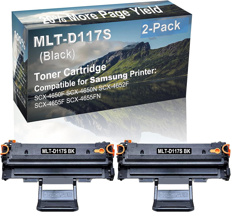 2-Pack Compatible High Yield SCX-4650F, SCX-4650N, SCX-4652F, SCX-4655F, SCX-4655FN Printer Cartridge Replacement for Samsung MLT-D117S Toner Cartridge (Black)