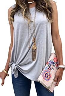 AlvaQ Women Summer Twist Front Tank Tops Loose Casual Sleeveless Shirts Blouses