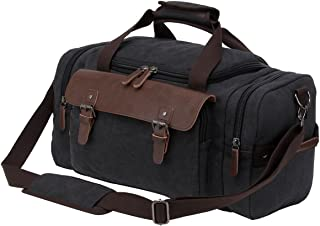Riavika Canvas Leather Trim Duffle Bag Oversized Travel Duffle Luggage Bag-Black