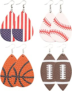 Baseball Leather Earrings for Women Lightweight Faux Leather Earrings Teardrop Ball Leather Dangle Earrings 4 Pairs