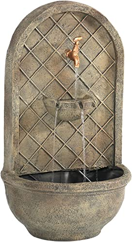 lowest Sunnydaze Messina Solar online sale Powered Outdoor Wall Mounted Water Fountain with Battery Backup, Pump and Panel - Patio Waterfall Feature - outlet online sale Florentine Stone - 26-Inch online