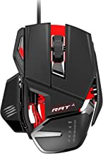Mad Catz RAT4 Wired Optical USB LED RGB Mouse with 9 Programmable Buttons, Adjustable - Black