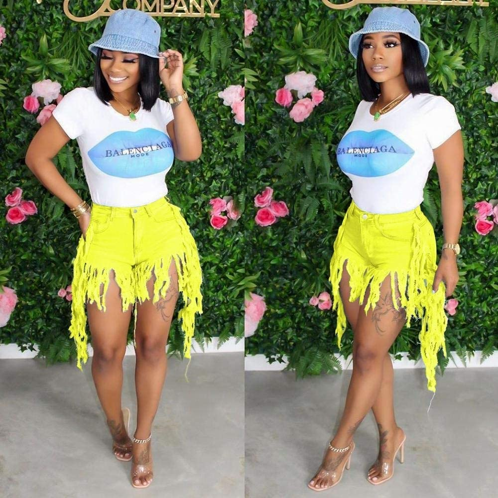 CDDKJDS Stretch High Waist Summer Club Party Shorts Women Tassels Splicing Zipper Fly Washed Denim Short Casual Streetwear Denim Shorts (Color : Yellow, Size : Small)