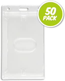 50 Pack - Vertical Hard Plastic Clear Badge Holder - Credit Card Size ID Card Holder