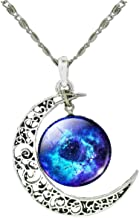 Unique Design Crescent Moon Galaxy Universe Glass Cabochon Pendant Necklace Christmas Gifts (836)