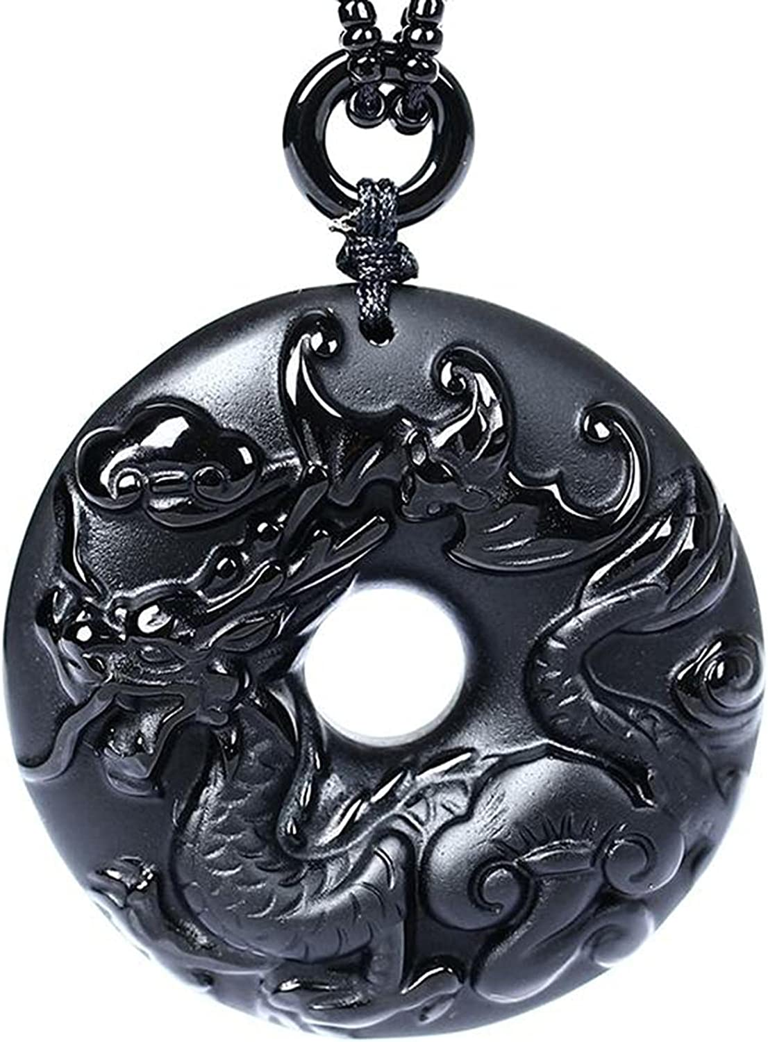 Japan Maker New Natural Black Obsidian Bead Max 45% OFF Necklace B Safety Hand-Carved Dragon