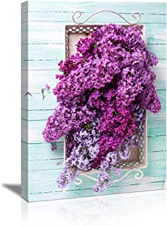 Purple floral hanging picture Fresh splendid lilac flowers on tray on turquoise painted wooden home decor wall decoration artwork canvas wall art for Living room bedroom bathroom kitchen decor picture