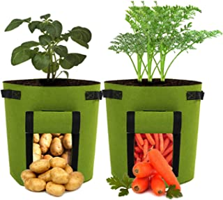 Potato Grow Bags, 2 Pack 7 Gallon Garden Vegetable Planter Pot with Flap and Handles, Planting Grow Bags for Potatoes, Tom...