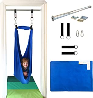 DreamGYM Doorway Sensory Swing - 95 Cotton - Support Bar Included - Therapy Swing for Kids and Adults - Blue