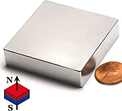 """N52 Super Strong Neodymium Block Magnet 2x2x1/2"""" Flat NdFeB Rare Earth Rectangular Magnet for Science, Projects and Industries, 1-Count"""