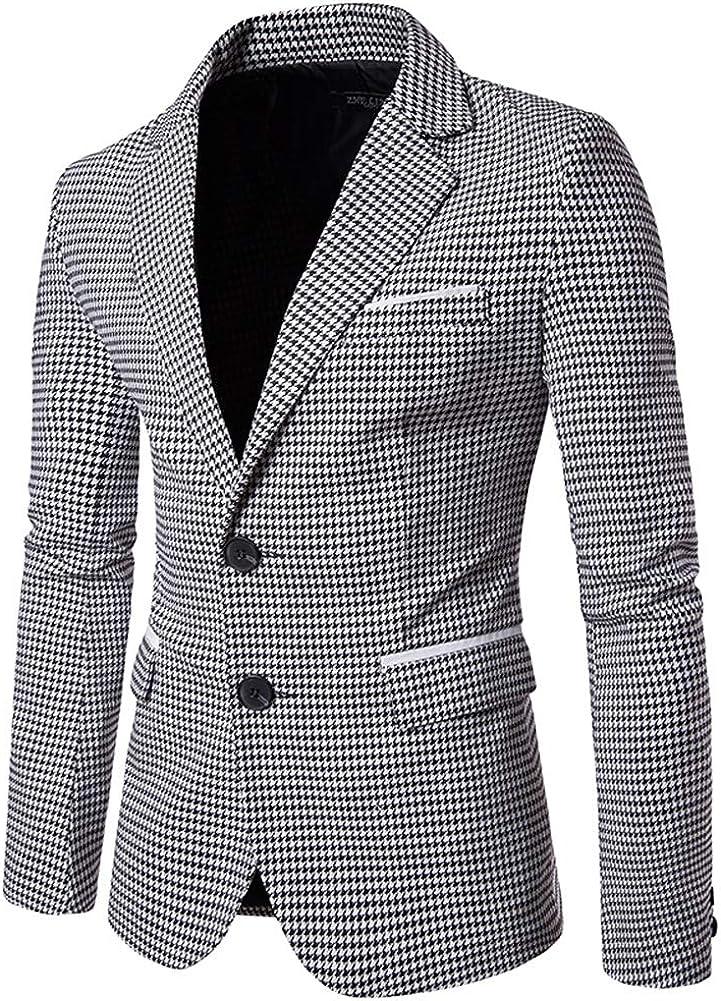 chouyatou Men's Formal Wear 2 Button Houndstooth Plaid Blazer Jacket Sport Coat