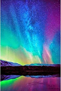DIY 5D Diamond Painting Kits for Adults Diamond Painting Aurora by Number Kit for Adult Full Drill Diamond Embroidery Kit Home Wall Decor Size approximately13.7x17.7inch