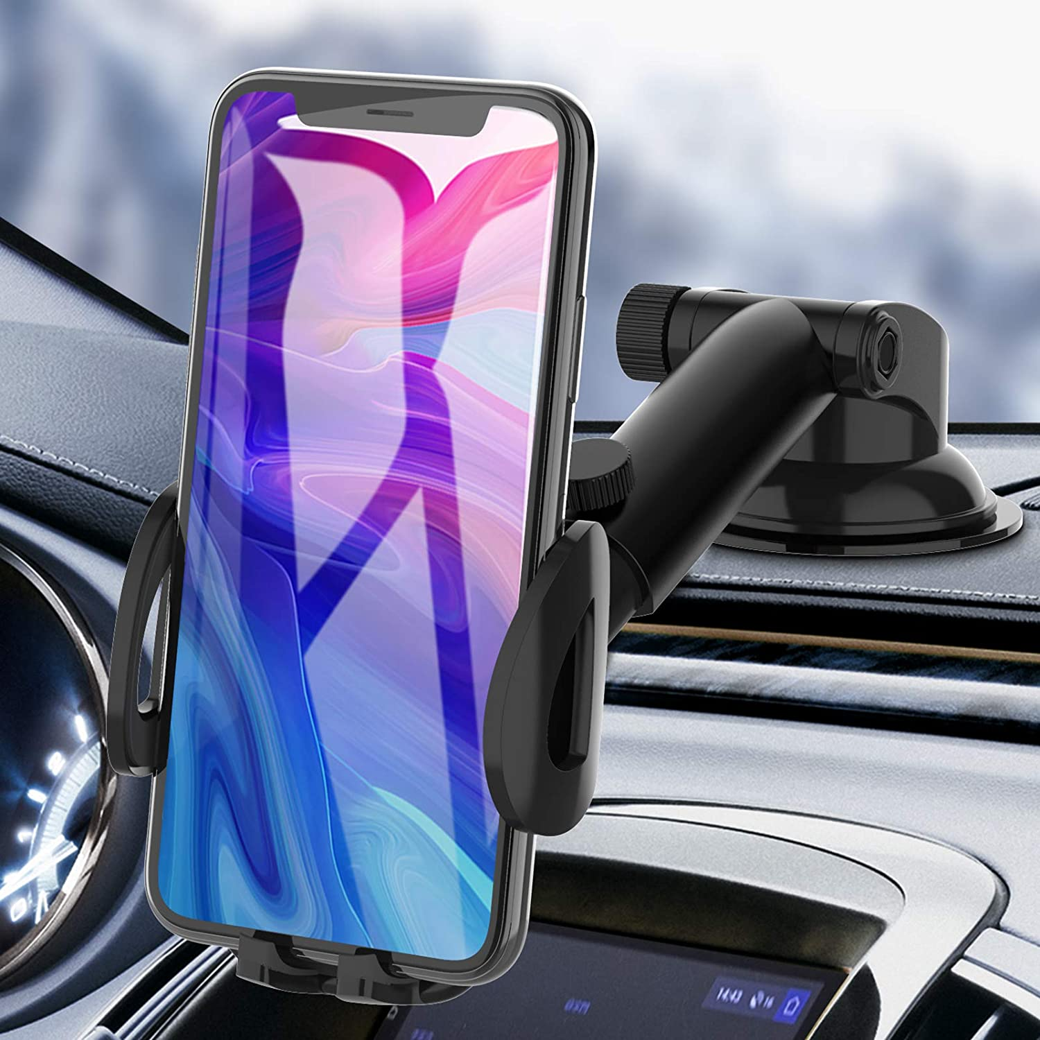 Car Phone Holder, bokilino Car Phone Mount - Cell Phone Holder for Car Dashboard Windshield, Sturdy Cup Holder Phone Mount Fit with All Mobile Phones