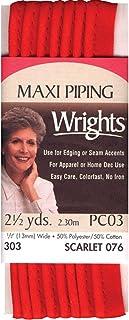 Wrights 117-303-076 Fita de viés de tubulação, escarlate, 2,5 metros