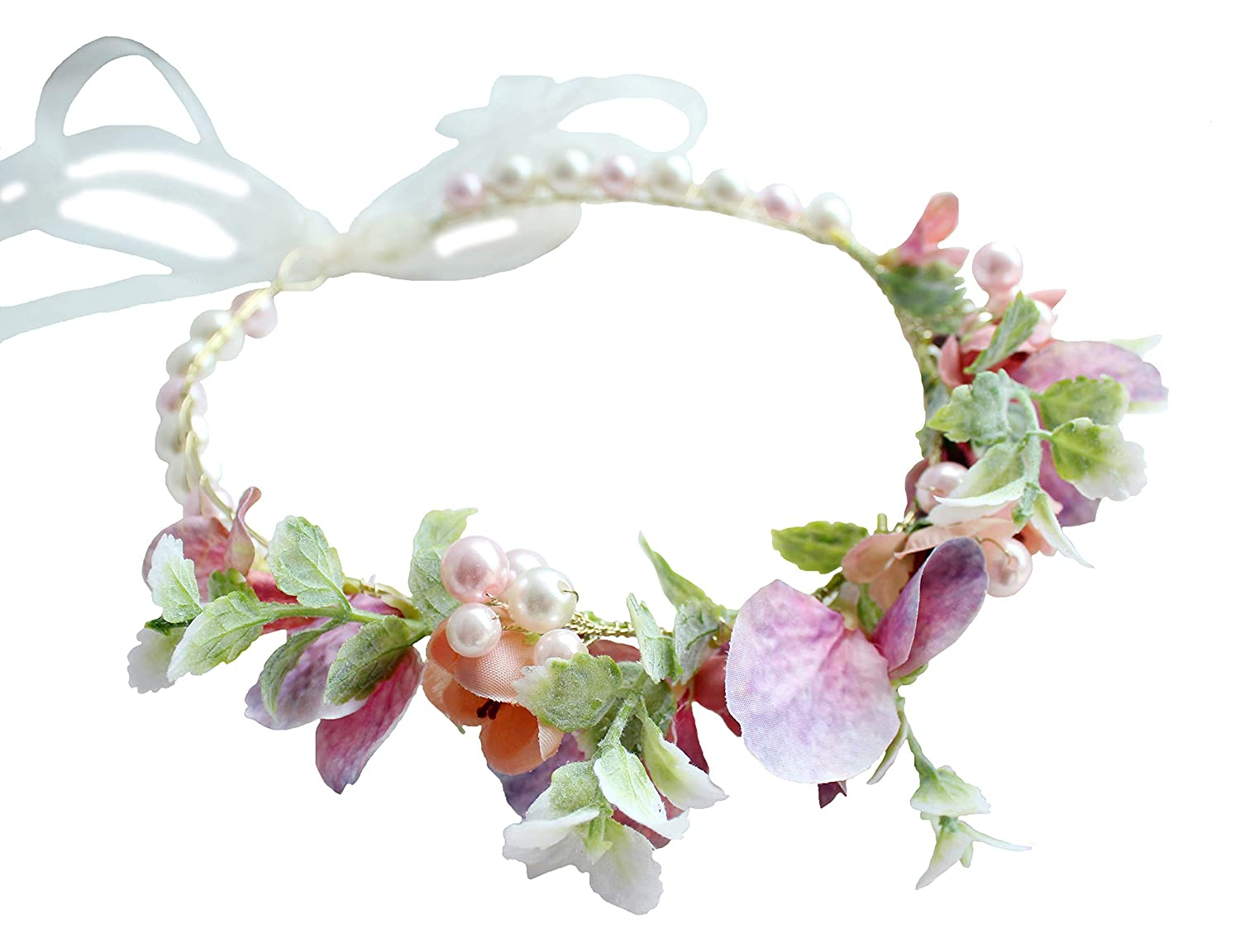 Pearl Flower Crown Floral Garland Headband Flower Halo Headpiece Hair Wreath Boho with Ribbon Wedding Party Photos Festival Pink by Vivivalue