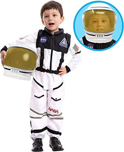 Astronaut NASA Pilot Costume with Movable Visor Helmet for Kids, Boys, Girls, Toddlers Space Pretend Role Play Dress ...