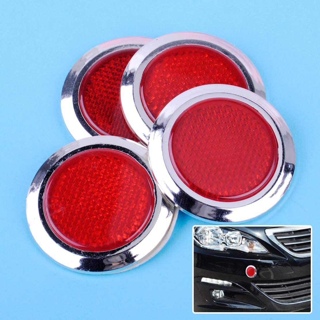 Universal Cheap mail order Max 65% OFF shopping 4pcs Car Reflective Sticker Se Plated Red Chrome Round