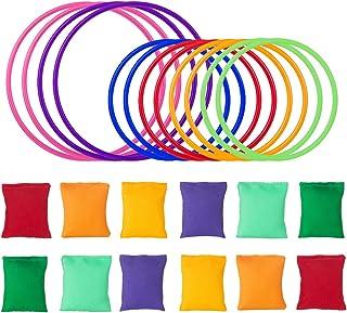 LEMESO Kit de Juegos de lanzamiento Sacos de Arena + 12 Juguetes Anillo lanzamiento círculo