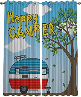 Blackout Curtains Window Treatment Curtain Happy Camper Cartoon Caravan Room Darkening Thermal Insulated Drapes for Living Room Bedroom 52x63 Inch x2 Panels