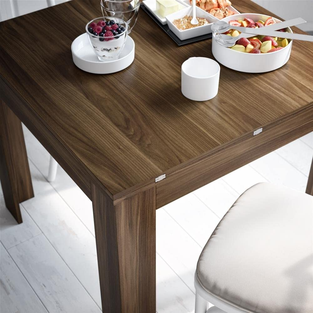 Mesa Extensible Mobili Fiver Modelo Eldorado Color Nogal Americano Made in Italy 90 x 90 x 79 cm