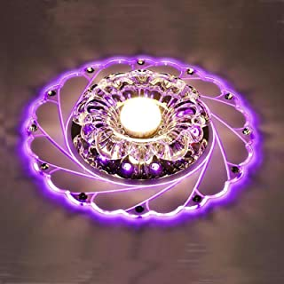 Lámpara de Techo de Cristal Acrílico en Forma de Flor de 5W para Dormitorio, Sala de Estar, Pasillo(Luz Púrpura)